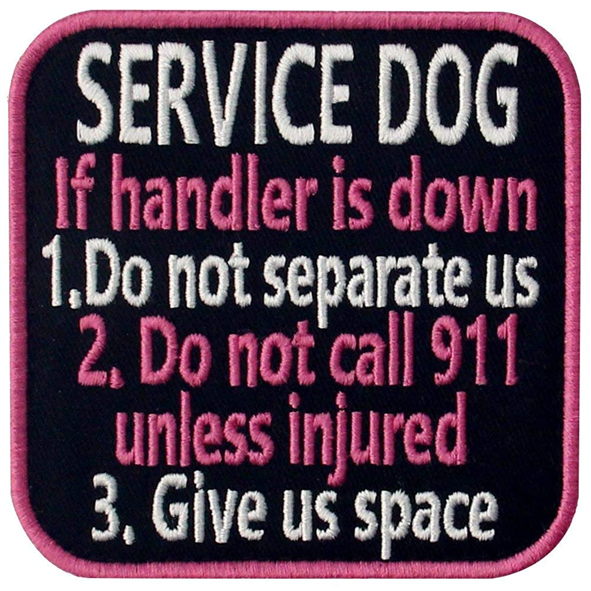 Service Dog If Handler is Down Vests/Harnesses Emblem Embroidered Fastener Hook & Loop Patch - Pink