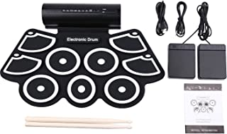 SKEIDO Portable 9 Pad Electronic Drum Kit with Sticks and Foot Pedals - Konix Complete Silicone Roll-Up Style Electric Dru...