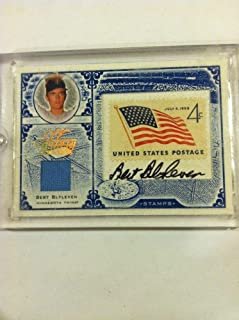 2004 Donruss U.s Postage Stamp Bert Blyleven Stamp Autograph Jersey 14/37 Rare - Autographed Baseball Cards