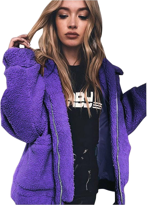 Women's Lapel Faux Fur Jacket Shaggy Jacket Winter Warm Fleece Coat Outwear Shaggy Shearling Jacket Zip Up