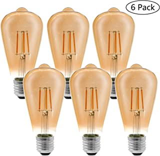 Etrogo LED Edison Bombillas Vintage E27 con Filamento 4W Equivalente a 40W 400LM luz Cálido Amarilla 2300K ST64 Retro Estilo [6 Unidades No Regulabre]