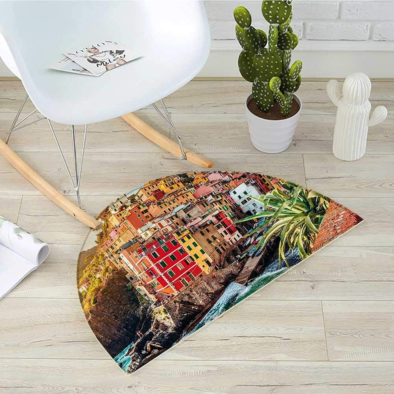 Semicircular CushionRiomaggiore at Sunset Cinque Terre National Park Cliff and Coast Scenic Panorama Entry Door Mat H 43.3  xD 64.9  Multicolor