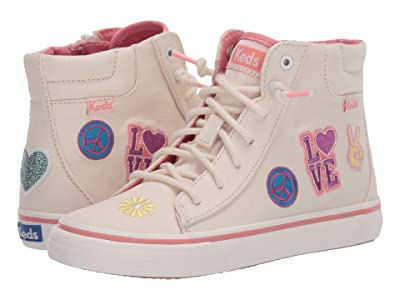 Keds Kids Double Up High Top (Little Kid/Big Kid) (Message Natural Patch) Girl