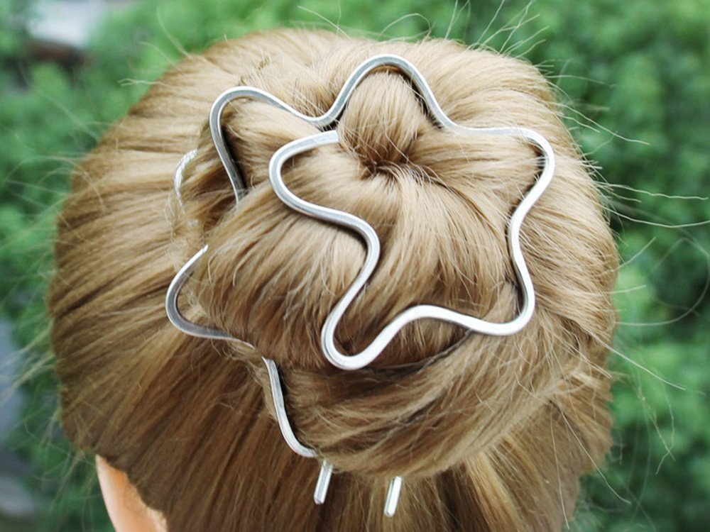 Wave Plain Hammered Bun Holder Clip Hair with Jewelry Fork Metal Super beauty product restock quality Challenge the lowest price top