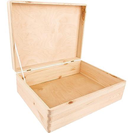 Creative Deco XL Boite de Rangement en Bois à Décorer   40 x 30 x 14 cm (+/- 1 cm)   avec Couvercle   Naturel Non Peint   Boîte Caisse Malle Coffre Outil   Brut ET Non PONCÉ