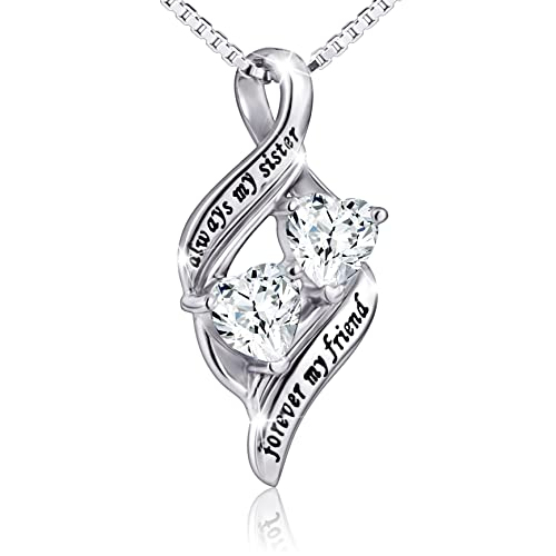 925 Sterling Silver Always My Sister Forever Friend Double Love Heart Necklace Box Chain