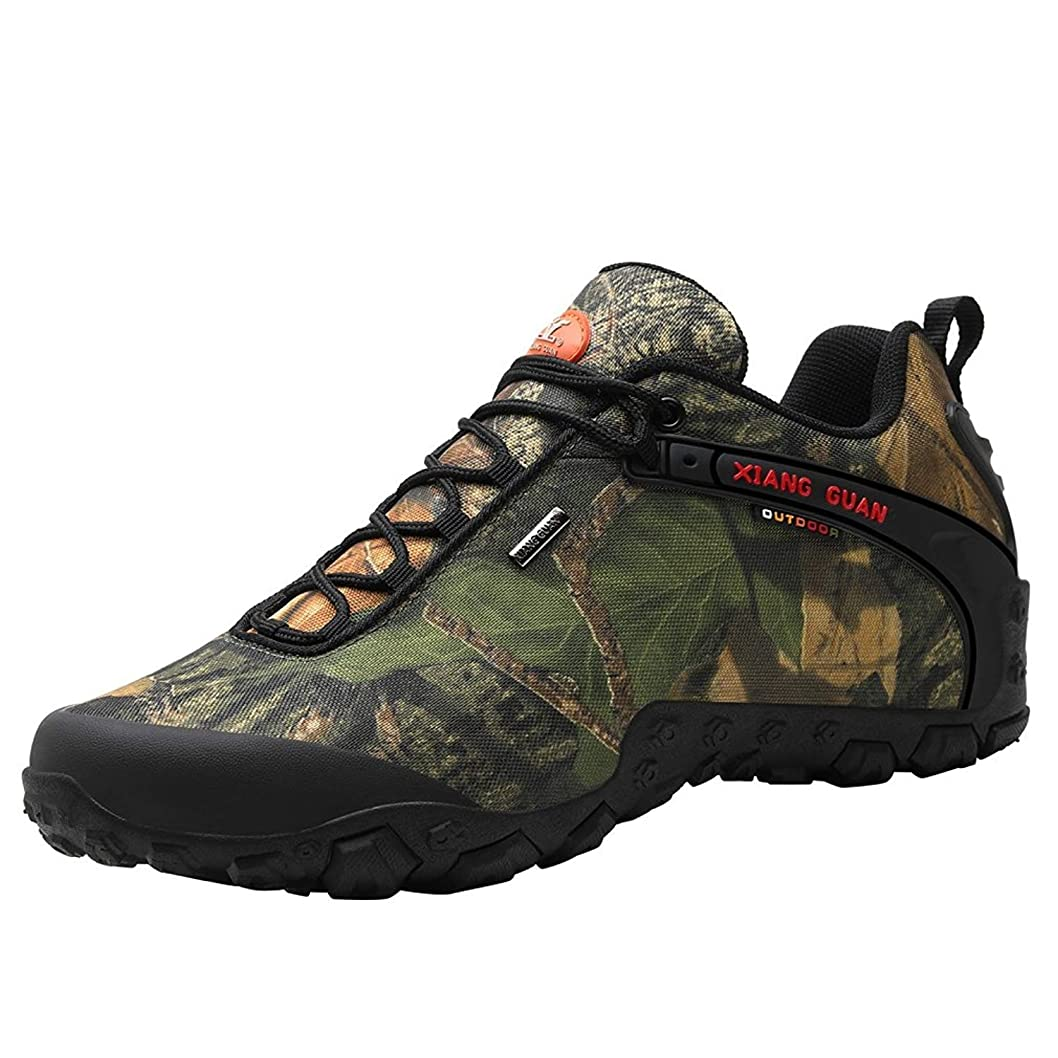 風景インレイ消化器[ショウカン] 登山靴 迷彩 トレッキングシューズ メンズ 防滑 軽量 撥水 ハイキングシューズ