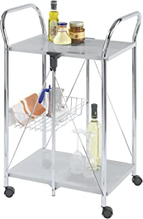 WENKO 900060100 Kitchen and utility trolley Sunny silver, 60 x 90 x 44 Cm- foldable, Powder-coated metal, 22.2 x 35.6 x 17.3 inch, Silver/Chrome
