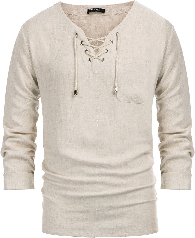 PJ PAUL JONES Mens Fashion Manufacturer OFFicial shop T Inexpensive Tee Cotton Linen Shirt Hippi Casual