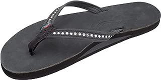 Women's Single Layer Premier Leather w/Swarovski Crystal Narrow Strap