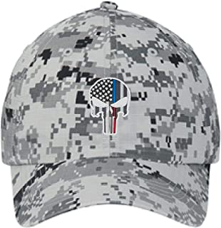 74171986a96f8 Yellow Dog Embroidered Thin Blue RED Line Skull Subdued American Flag  Police Firefighter Digital Camo Baseball
