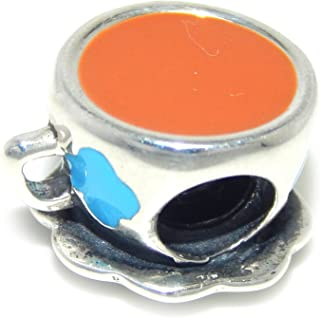 ICYROSE Solid 925 Sterling Silver Coffe Cup with Blue Cloud Design Charm Bead for European Snake Chain Bracelets