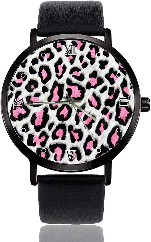 Reloj de pulsera de cuarzo para mujer, piel de leopardo, correa de cuero de acero inoxidable