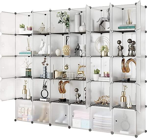 KOUSI Portable Storage Shelf Cube Shelving Bookcase Bookshelf Cubby Organizing Closet Toy Organizer Cabinet Transparent White 30 Cubes Storage