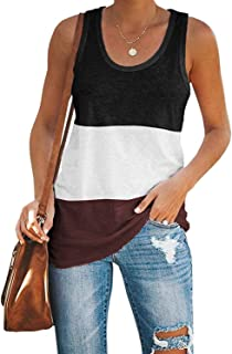 Womens Summer Sleeveless Racerback Yoga Basic Casual Tee Shirt Workout Color Block Cotton Tank Tops
