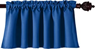 Deconovo Solid Blackout Rod Pocket Curtains Textured Embossed for Kitchen Window 42x18 Inch Royal Blue 1 Panel