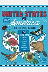 The United States of America Coloring Book: Fifty State Maps with Capitals and Symbols like Motto, Bird, Mammal, Flower, Insect, Butterfly or Fruit Paperback