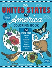 The United States of America Coloring Book: Fifty State Maps with Capitals and Symbols like Motto, Bird, Mammal, Flower, I...
