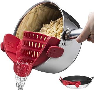 Zamishen Coladores de Alimentos Snap Strain Strainer, colador de Silicona con Clip, se Adapta a Todas Las ollas y Cuencos - Rojo