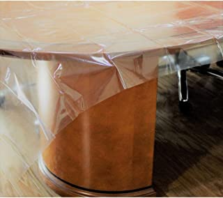 Exquisite Heavy Duty Waterproof Plastic Table Cover, Crystal Clear PVC Tablecloth Protector (52