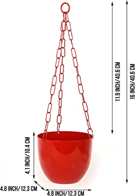 Homspurts The Chained Frustums Metal Hanging Planter Pots for Indoor Plants with Chain (Iron, Set of 2) - Stylish Hanging Planters for Balcony Decorative Terrace Hanging Pots Plant Containers