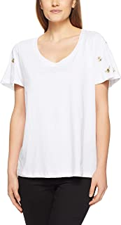 French Connection Women's EMBROIERED BEE TEE, Summer White/Gold