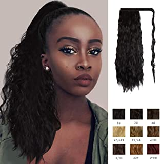 Sofeiyan Ponytail Extension 20 Inch Long Curly Wave Black Wrap Around Synthetic Clip in Hair Extension for White Black Women Party Daily Use, off Black