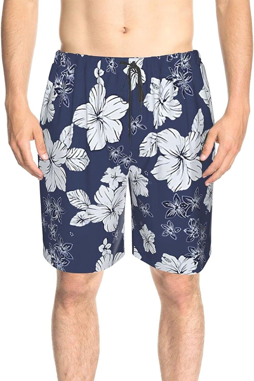 JINJUELS Mens Swim Trunks Blue Flower Tropical Beach Board Shorts Quick Dry Comfy Surf Beach Shorts with Mesh Lining
