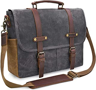 4b500a5516 Mens Messenger Bag 15.6 Inch Waterproof Vintage Genuine Leather Waxed  Canvas Briefcase Large Satchel Shoulder Bag