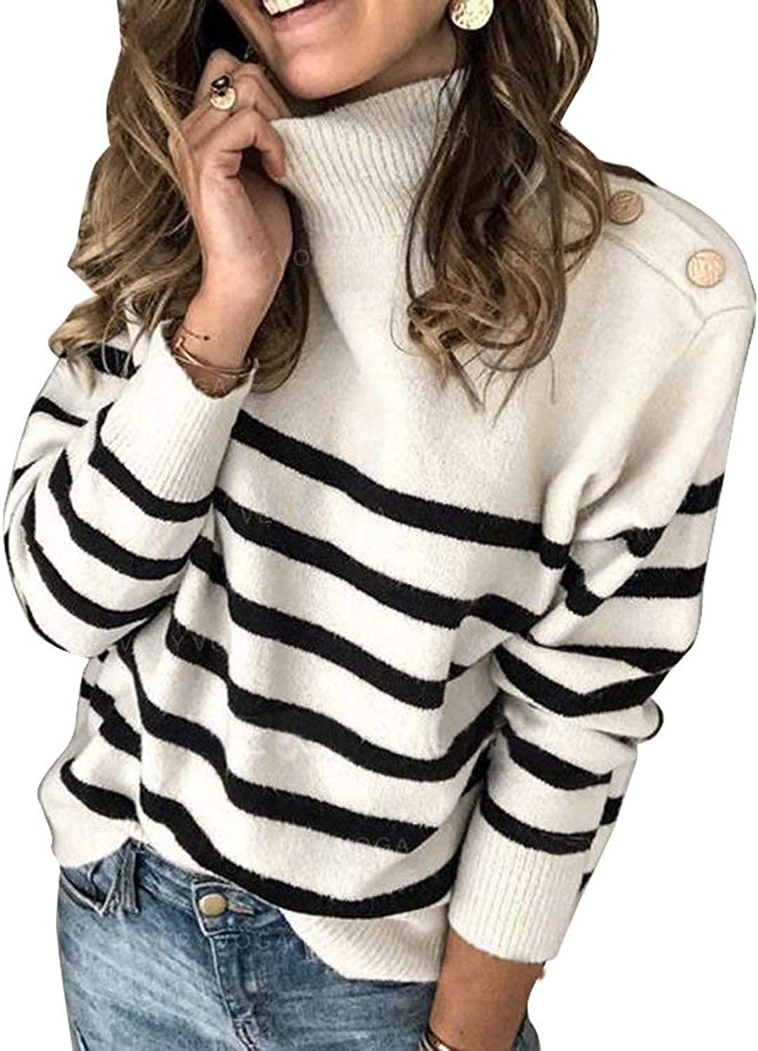 Ranking TOP13 Asvivid Free Shipping Cheap Bargain Gift Striped Turtleneck Button Knit for Women Lightw Sweaters