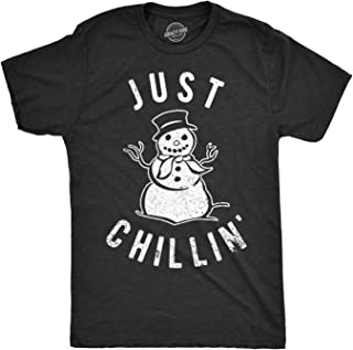 Mens Just Chillin Snowman Tshirt Cute Funny Christmas Winter Tee for Guys