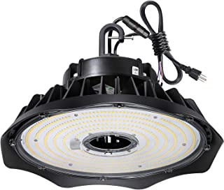 Hykolity 200W UFO LED High Bay Light Fixture, 26000lm 1-10V Dimmable 5000K 5' Cable with US Plug DLC Complied [400W/750W MH/HPS Equiv.] Commercial Warehouse/Workshop/Wet Location Area Light