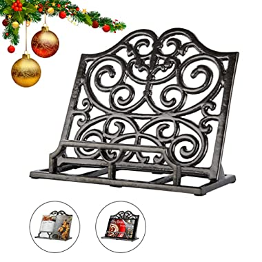 Vintage Cookbook Stand Cast Iron, Decorative Metal Cookbook Recipe Holder for Cookbooks or iPad Stands For Kitchen, Coffee Gold