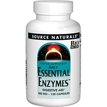 Source Naturals Essential Enzymes 500mg Bio-Aligned Multiple Supplement Herbal Defense For Digestion, Gas & Constipation Relief & Daily Digestive Health - Strong Immune System Support - 120 Capsules