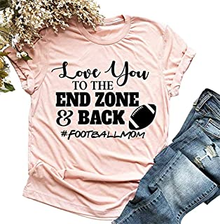 Love You to The End Zone Back Tshirt for Women Funny Graphic Football Mom Shirt Casual Summer Sunday Football Tee Tops