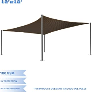 E&K Sunrise 12' x 12' Brown Sun Shade Sail Square Canopy - Permeable UV Block Fabric Durable Patio Outdoor Set of 1
