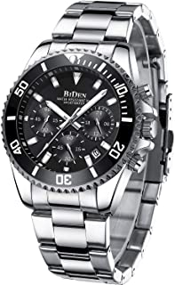 Mens Watches Chronograph Stainless Steel Waterproof Date Analog Quartz Fashion Business Wrist...