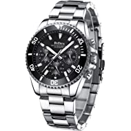 Mens Watches Chronograph Stainless Steel Waterproof Date Analog Quartz Fashion Business Wrist...