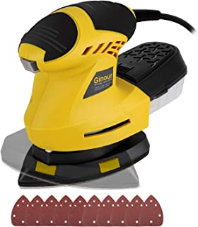 Mouse Detail Sander, Ginour 1.6A 200W 12,000 OPM Sander with 10 Pcs Sandpapers (80 & 180 Grits), 360�Rotatable Sanding Pad, 3M Cord, Dust Collection System For Tight Spaces Sanding in Home Decoration