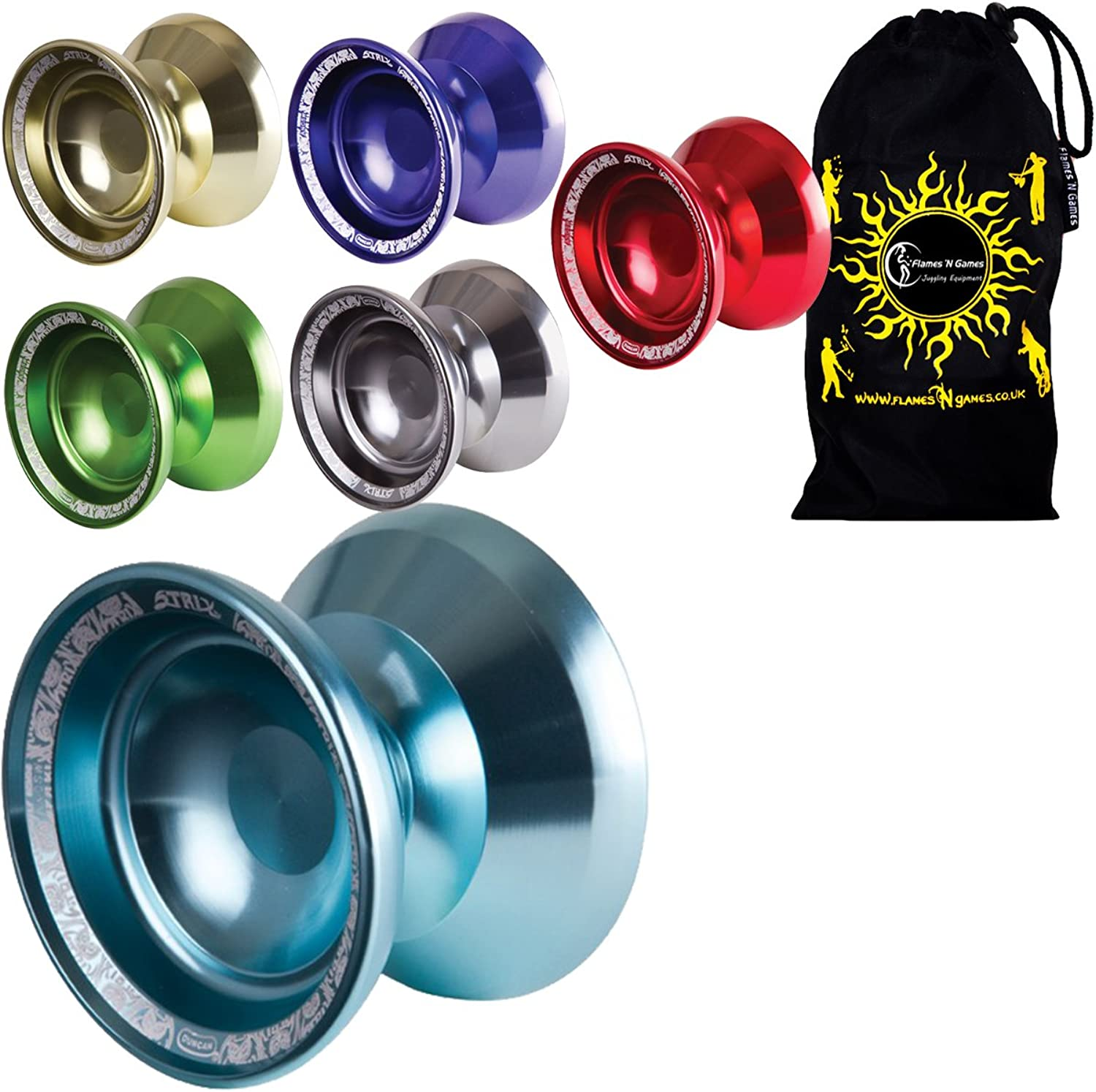 Duncan Strix Medium Advanced Double Competition Model Yoyo  Supreme Quality Aluminium Medium Yo Yo For 1A 3A Tricks + Travel Bag  Ideal YoYo for Competitions Off All Ages (gold)