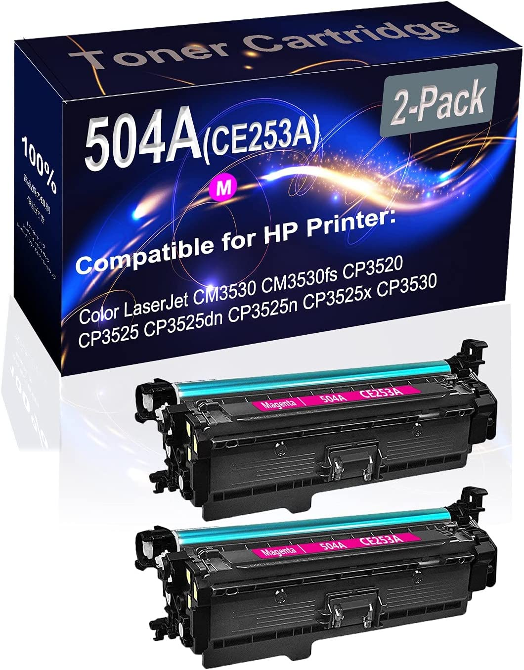 2-Pack (Magenta) Compatible CM3530 CM3530FS Laser Printer Toner Cartridge (High Capacity) Replacement for HP 504A (CE253A) Printer Toner Cartridge