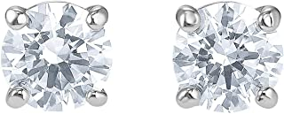 Crystal Attract Clear Round Stud Earrings, Rhodium-Plated