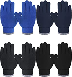 4 Pairs Kids Fleece Gloves Child Winter Warm Thickened Soft Gloves for Boys Girls (Black, Royal Blue, Navy Blue, Grey,4-8 Years)
