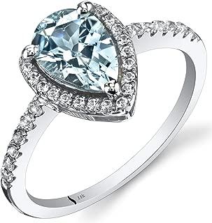 14K White Gold Aquamarine Open Halo Ring Pear Shape 1.00 Carats Sizes 5 to 9