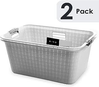BINO Woven Plastic Laundry Hamper Storage Basket, Light Grey(2 pack)