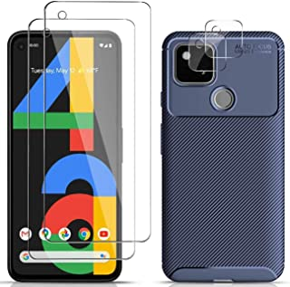 JAMIE Case with Screen Protector for Google Pixel 4a 5G, [1 Case+2 Screen Protector+2 Camera lens protector] [Carbon Fiber...