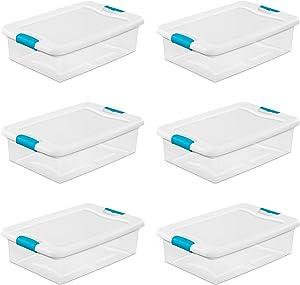 Sterilite 14968006 32 Quart White/Clear Plastic Storage Box With Blue Aquarium Latches