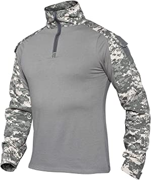 XKTTAC Camisa táctica, de exterior y de combate para militares y airsoft, con codos y hombros reforzados
