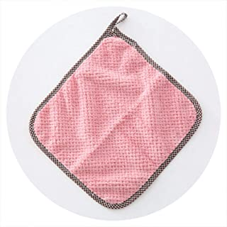 Super Absorbent Microfiber Kitchen Cleaning Cloth Hangable Coral Wool Towel Dish Kitchen Rag Tools Gadgets,Pink