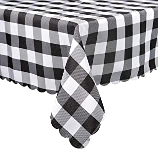Black and White Buffalo Plaid Square Tablecloth, Checkered Gingham Buffalo Washable Polyester Tablecloth, 36 x 36 Inch, Home, Kitchen, Dinner, Parties, Indoor, Outdoor, Buffet Tablecloth, Table Cover